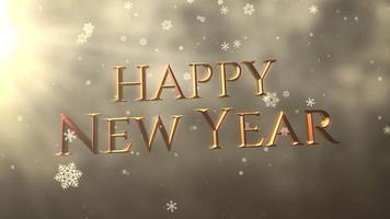 floco de neve branco caindo e closeup animado texto de feliz ano novo