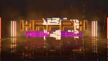 texto de introdução de animação feliz ano novo e fundo de animação cyberpunk com luzes de néon na rua da cidade