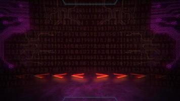 fundo de animação cyberpunk com matriz de computador, números e grade video