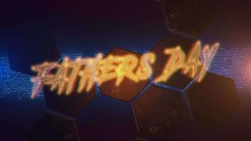 Animationstext Vatertag und Cyberpunk-Animationshintergrund mit Computermatrix und Neon-Sechseckformen video