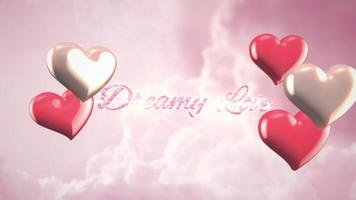 Animated closeup Dreamy Love text and motion romantic heart on Valentine day shiny background video