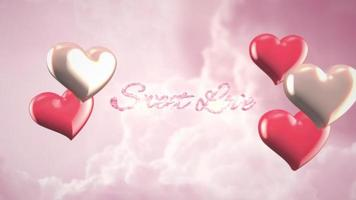 Animated closeup Sweet Love text and motion romantic hearts on Valentines day cloudy background video