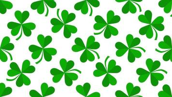 Bewegung grüne Kleeblätter, Saint Patrick Day Animation Hintergrund video