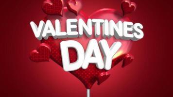 texto animado closeup de dia dos namorados e movimento coração romântico no fundo brilhante do dia dos namorados