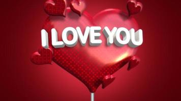 Animated closeup I Love you text and motion romantic heart on Valentines day shiny background video