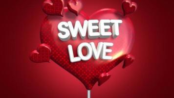 Texto de amor doce closeup animado e coração romântico em movimento no fundo brilhante do dia dos namorados