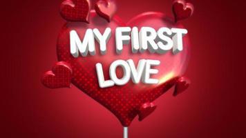 closeup animado meu primeiro texto de amor e coração romântico em movimento no fundo brilhante do dia dos namorados