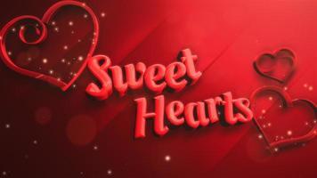animierte Nahaufnahme süße Herzen Text und Bewegung kleine rote Herzen auf Valentinstag glänzenden Hintergrund