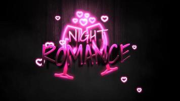 Texte de romance de nuit de gros plan animé et coeur romantique de mouvement sur fond brillant de la Saint-Valentin video