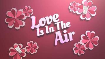 closeup animado amor está no ar texto e movimento coração romântico no fundo brilhante do dia dos namorados
