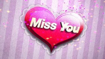 closeup animado sinto sua falta texto e movimento romântico grande coração rosa em fundo brilhante de dia dos namorados video