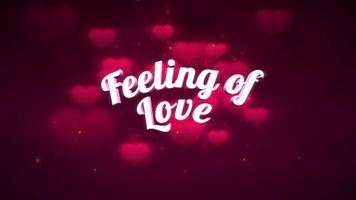 Animated closeup Feeling of Love text and motion romantic big heart on Valentine day shiny background video