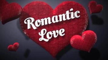 Animated closeup Romantic Love text and motion romantic heart on Valentine day shiny background video