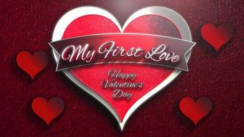 Animated closeup My First Love text and motion romantic heart on Valentines day shiny background
