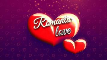 closeup animado texto de amor romântico e movimento coração romântico em fundo brilhante de dia dos namorados