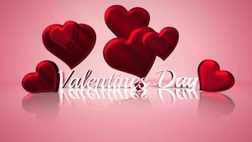 Animated closeup Valentine Day text and motion romantic heart on Valentine day shiny background video
