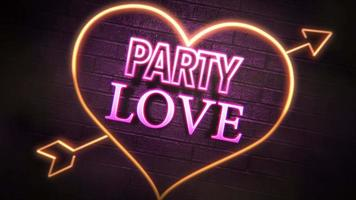 Animated closeup Party Love text and motion romantic heart on Valentines day shiny background video