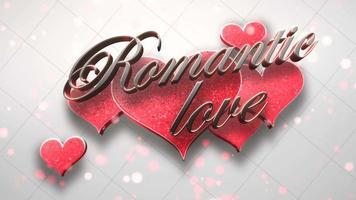 Animated closeup Romantic Love text and motion romantic hearts on Valentines day shiny background video