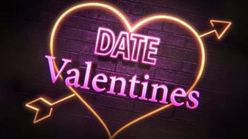 animierte Nahaufnahme Valentinstag Text und Bewegung romantisches Herz auf Valentinstag glänzenden Hintergrund video