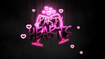 closeup animado texto de corações de festa e movimento coração romântico em fundo brilhante de dia dos namorados