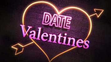 Animated closeup Valentine Date text and motion romantic heart on Valentine day shiny background