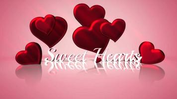 Animated closeup Sweet Hearts text and motion romantic heart on Valentine day shiny background video
