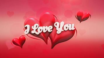 Animated closeup I Love you text and motion romantic heart on Valentine day shiny background