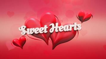 Animated closeup Sweet Hearts text and motion romantic heart on Valentines day shiny background