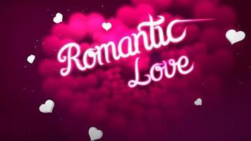 animierte Nahaufnahme romantische Liebe Text und Bewegung kleine romantische Herzen auf Valentinstag glänzenden Hintergrund video