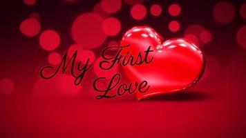 animierte Nahaufnahme mein erster Liebestext und Bewegung romantisches Herz am Valentinstag glänzenden Hintergrund video