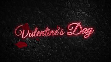 animierte Nahaufnahme Valentinstag Text und Bewegung Blätter von Rosen auf Valentinstag glänzenden Hintergrund video
