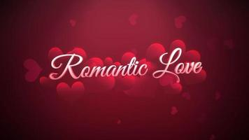 Animated closeup Romantic Love text and motion romantic heart on Valentines day shiny background video