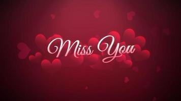 animierte Nahaufnahme vermissen Sie Text und Bewegung romantisches Herz auf Valentinstag glänzenden Hintergrund