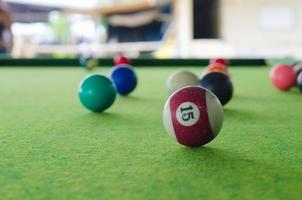 Pool balls on a pool table photo