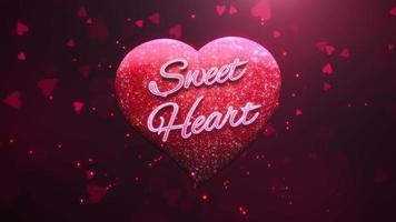 animierte Nahaufnahme Sweet Heart Text und Bewegung romantisches Herz auf Valentinstag glänzenden Hintergrund