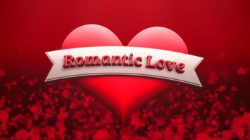 animierte Nahaufnahme romantische Liebe Text und Bewegung romantisches Herz auf Valentinstag glänzenden Hintergrund video