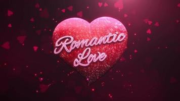 Animated closeup Romantic Love text and motion romantic heart on Valentine day shiny background
