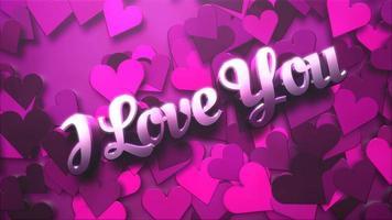 animierte Nahaufnahme Ich liebe dich Text und Bewegung romantisches Herz auf Valentinstag glänzenden Hintergrund video