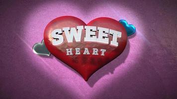 animierte Nahaufnahme Sweet Heart Text und Bewegung romantisches Herz auf Valentinstag glänzenden Hintergrund video