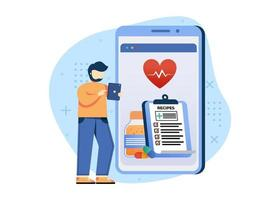 Digital Pharmacy concept vector illustration. online Pharmacy, health care pharmacy online service. can use for homepage, mobile apps, web banner. character cartoon Illustration flat style.