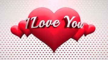 animierte Nahaufnahme Ich liebe dich Text und Bewegung romantisches Herz auf Valentinstag glänzenden Hintergrund