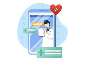 Ilustración de vector de concepto de médico y salud en línea. consulta en línea con médico, recetas en línea, chequeo médico en línea. estilo plano de ilustración de dibujos animados de personaje.
