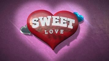 animierte Nahaufnahme süße Liebe Text und Bewegung romantisches Herz auf Valentinstag glänzenden Hintergrund
