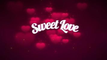 animierte Nahaufnahme süße Liebe Text und Bewegung romantisches Herz auf Valentinstag glänzenden Hintergrund video