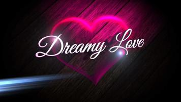 Animated closeup Dreamy Love text and motion romantic heart on Valentines day shiny background video