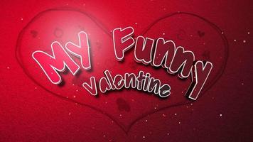 closeup animado meu texto engraçado de dia dos namorados e movimento coração romântico no fundo brilhante do dia dos namorados video