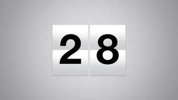 Cuenta regresiva de la mesa blanca en movimiento del 31 al 1, fondo de tiempo en estilo moderno video