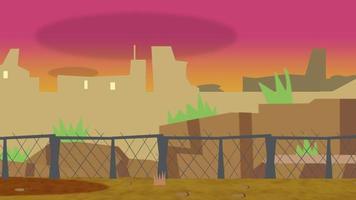 tecknad animation bakgrund med solnedgång och byggnader, abstrakt bakgrund