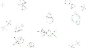 Movimiento de formas geométricas abstractas cruces y triángulos, fondo blanco de Memphis