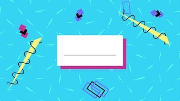 movimento geométrico abstrato em ziguezague e quadrados, fundo azul de memphis video